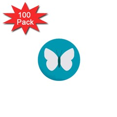 Little Butterfly Illustrations Animals Blue White Fly 1  Mini Buttons (100 Pack)