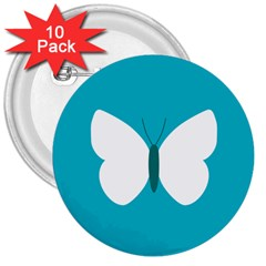 Little Butterfly Illustrations Animals Blue White Fly 3  Buttons (10 Pack)