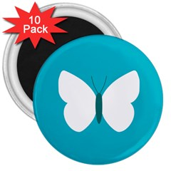 Little Butterfly Illustrations Animals Blue White Fly 3  Magnets (10 pack)