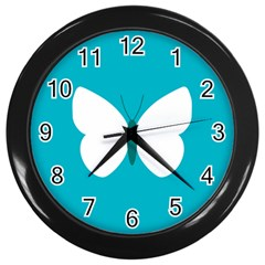 Little Butterfly Illustrations Animals Blue White Fly Wall Clocks (black)