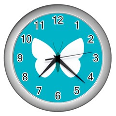 Little Butterfly Illustrations Animals Blue White Fly Wall Clocks (Silver)