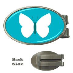 Little Butterfly Illustrations Animals Blue White Fly Money Clips (Oval)