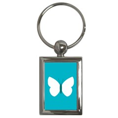 Little Butterfly Illustrations Animals Blue White Fly Key Chains (rectangle)
