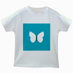 Little Butterfly Illustrations Animals Blue White Fly Kids White T-Shirts