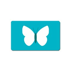 Little Butterfly Illustrations Animals Blue White Fly Magnet (Name Card)