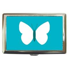 Little Butterfly Illustrations Animals Blue White Fly Cigarette Money Cases