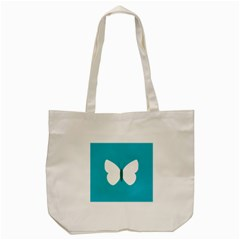 Little Butterfly Illustrations Animals Blue White Fly Tote Bag (Cream)