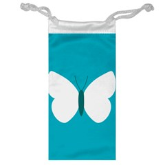 Little Butterfly Illustrations Animals Blue White Fly Jewelry Bag