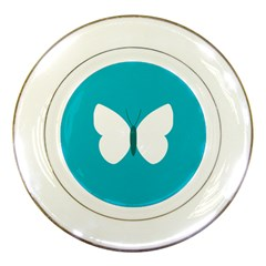 Little Butterfly Illustrations Animals Blue White Fly Porcelain Plates