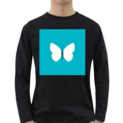 Little Butterfly Illustrations Animals Blue White Fly Long Sleeve Dark T-Shirts