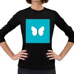 Little Butterfly Illustrations Animals Blue White Fly Women s Long Sleeve Dark T Shirts
