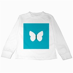 Little Butterfly Illustrations Animals Blue White Fly Kids Long Sleeve T Shirts