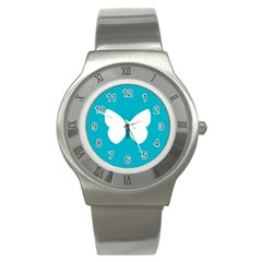 Little Butterfly Illustrations Animals Blue White Fly Stainless Steel Watch