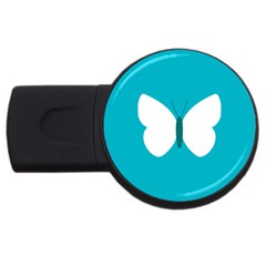 Little Butterfly Illustrations Animals Blue White Fly Usb Flash Drive Round (4 Gb)