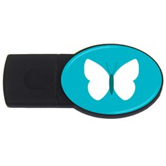 Little Butterfly Illustrations Animals Blue White Fly USB Flash Drive Oval (4 GB)