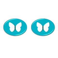 Little Butterfly Illustrations Animals Blue White Fly Cufflinks (Oval)