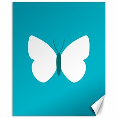Little Butterfly Illustrations Animals Blue White Fly Canvas 16  x 20