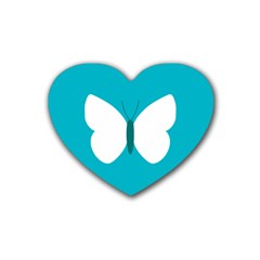 Little Butterfly Illustrations Animals Blue White Fly Rubber Coaster (Heart)