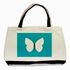 Little Butterfly Illustrations Animals Blue White Fly Basic Tote Bag (Two Sides)
