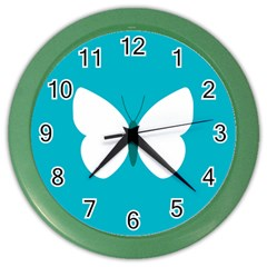 Little Butterfly Illustrations Animals Blue White Fly Color Wall Clocks