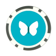 Little Butterfly Illustrations Animals Blue White Fly Poker Chip Card Guard (10 pack)