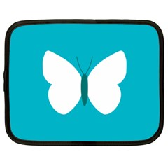 Little Butterfly Illustrations Animals Blue White Fly Netbook Case (XXL)