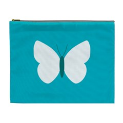 Little Butterfly Illustrations Animals Blue White Fly Cosmetic Bag (xl)