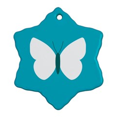 Little Butterfly Illustrations Animals Blue White Fly Snowflake Ornament (Two Sides)