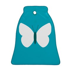 Little Butterfly Illustrations Animals Blue White Fly Bell Ornament (Two Sides)
