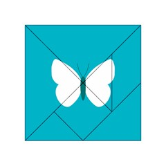 Little Butterfly Illustrations Animals Blue White Fly Acrylic Tangram Puzzle (4  x 4 )