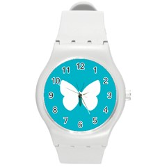 Little Butterfly Illustrations Animals Blue White Fly Round Plastic Sport Watch (m)
