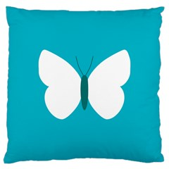 Little Butterfly Illustrations Animals Blue White Fly Large Cushion Case (Two Sides)
