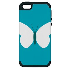 Little Butterfly Illustrations Animals Blue White Fly Apple iPhone 5 Hardshell Case (PC+Silicone)