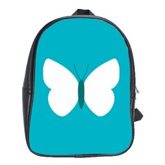 Little Butterfly Illustrations Animals Blue White Fly School Bags (XL)