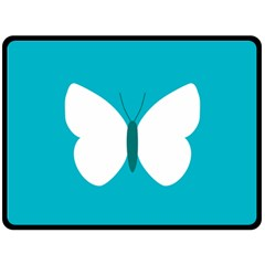 Little Butterfly Illustrations Animals Blue White Fly Double Sided Fleece Blanket (Large)