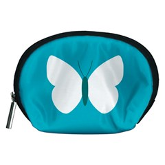 Little Butterfly Illustrations Animals Blue White Fly Accessory Pouches (Medium)