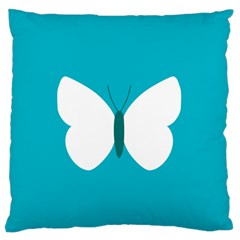 Little Butterfly Illustrations Animals Blue White Fly Large Flano Cushion Case (One Side)