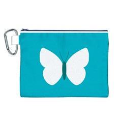 Little Butterfly Illustrations Animals Blue White Fly Canvas Cosmetic Bag (L)