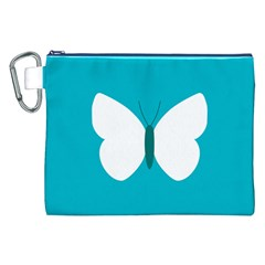 Little Butterfly Illustrations Animals Blue White Fly Canvas Cosmetic Bag (XXL)