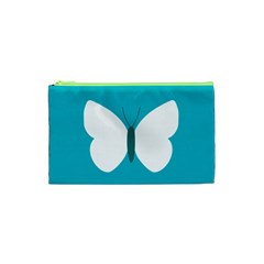 Little Butterfly Illustrations Animals Blue White Fly Cosmetic Bag (XS)