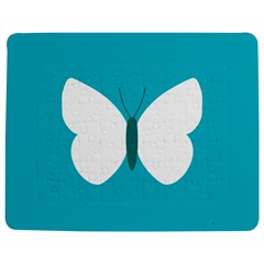 Little Butterfly Illustrations Animals Blue White Fly Jigsaw Puzzle Photo Stand (rectangular)