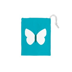 Little Butterfly Illustrations Animals Blue White Fly Drawstring Pouches (XS)