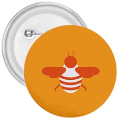 Littlebutterfly Illustrations Bee Wasp Animals Orange Honny 3  Buttons