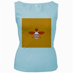 Littlebutterfly Illustrations Bee Wasp Animals Orange Honny Women s Baby Blue Tank Top
