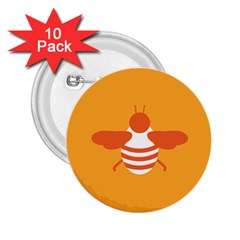 Littlebutterfly Illustrations Bee Wasp Animals Orange Honny 2.25  Buttons (10 pack)