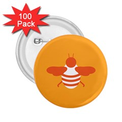 Littlebutterfly Illustrations Bee Wasp Animals Orange Honny 2.25  Buttons (100 pack)