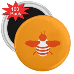 Littlebutterfly Illustrations Bee Wasp Animals Orange Honny 3  Magnets (100 pack)