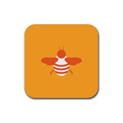 Littlebutterfly Illustrations Bee Wasp Animals Orange Honny Rubber Coaster (square)
