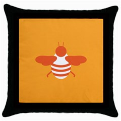 Littlebutterfly Illustrations Bee Wasp Animals Orange Honny Throw Pillow Case (black)
