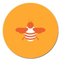Littlebutterfly Illustrations Bee Wasp Animals Orange Honny Magnet 5  (Round)
